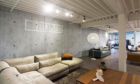 Fysieke winkel inspiratie - vliesbehang betonlook
