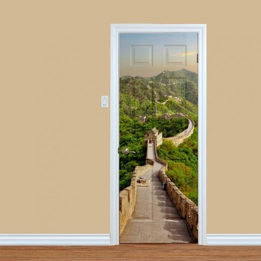 Geprinte deursticker - voorbeeld Chinese muur