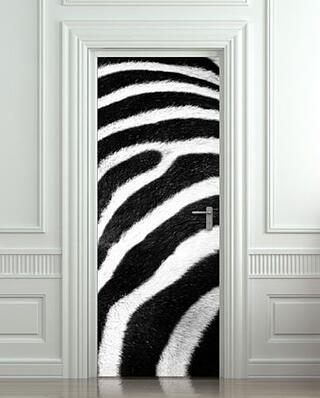 Geprinte deursticker - voorbeeld Zebra
