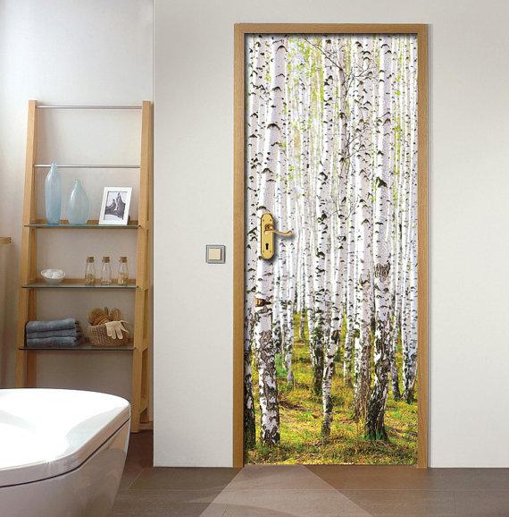 Geprinte deursticker - voorbeeld bos